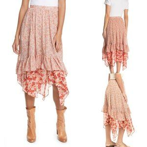 Free People Zuma Floral Tiered Skirt Size 0